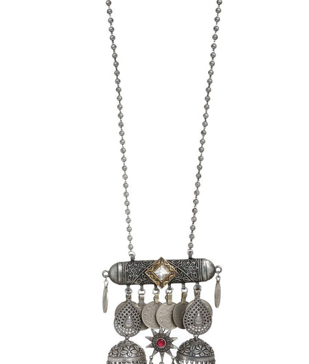 Long Chain With Tribal Afghani Pendant With Flower Jhumaki And Kundan Details