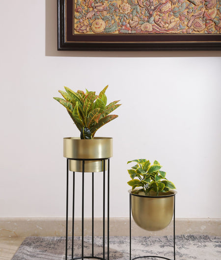 Brass Look Metal Planter With Large Iron Stand