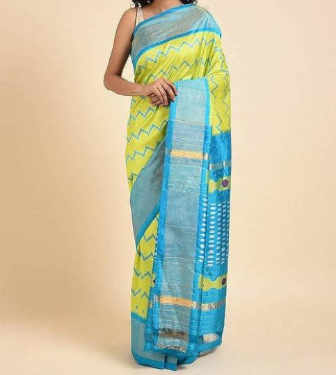 Lime Green And Blue Handwoven Traditional Silk Saree
