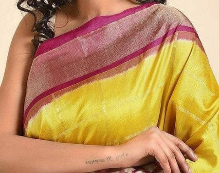 Yellow And Magenta Pink Handwoven Traditional Silk Saree