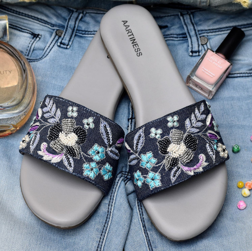 Hand Embroidered Denim Slides 1.27cm (0.5in)