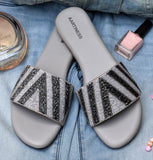 Hand Embroidered Grey Slides 1.27cm (0.5in)