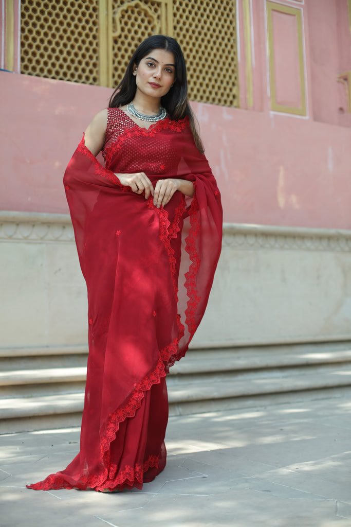 Vienna Red Saree