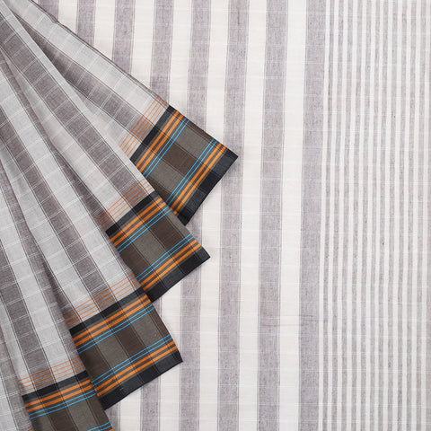 Begampur Cotton Light Grey Saree With Matha Border