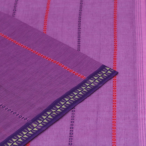 Begampur Cotton purple Saree with Naksha border