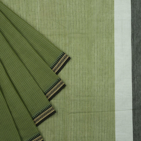 Begampur Cotton olive green Saree with dobby naksha border