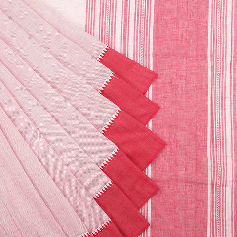Begampur Cotton light red Saree with matha border