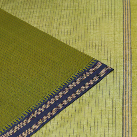 Begampur Cotton green Saree with dobby naksha border