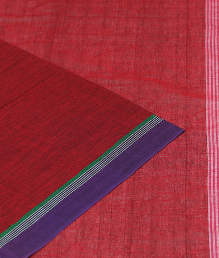 Begampur Cotton Maroon Saree With Naksha Border