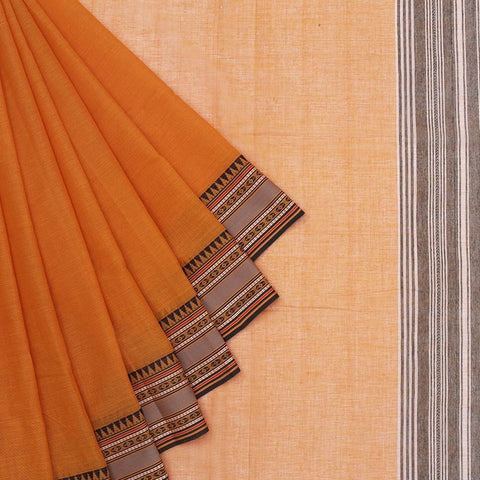 Begampur Cotton Orange Saree With Naksha Border