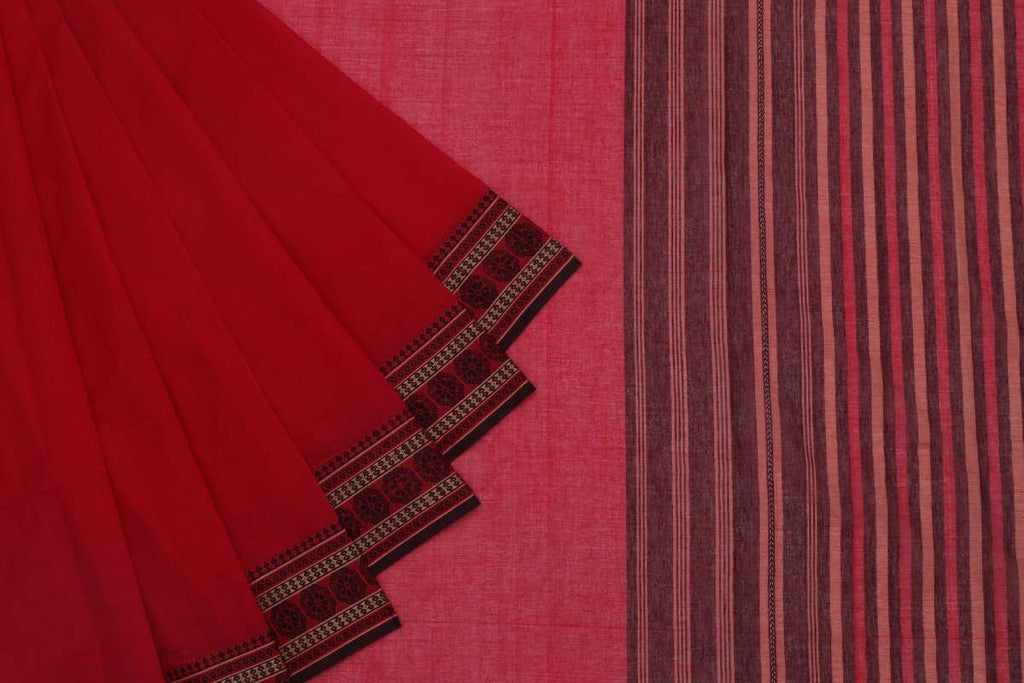 Begampur Cotton Redish Pink Saree With Naksha Border