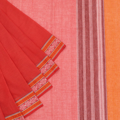 Begampur Cotton Red Saree With Naksha Border