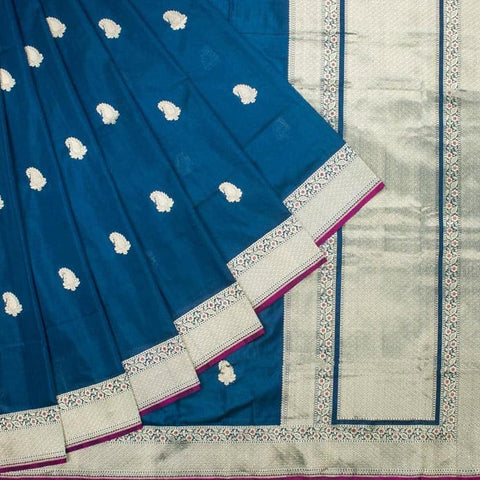Peacock Blue Handwoven Banarasi Katan Silk Kadhua Work Saree with Paisley Motif