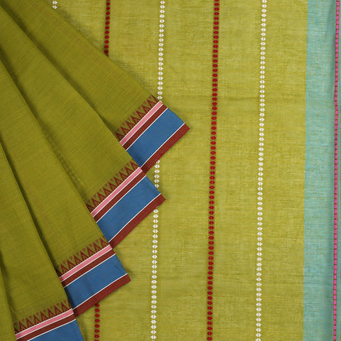 Begampur Cotton Olive Green Saree With Naksha Border