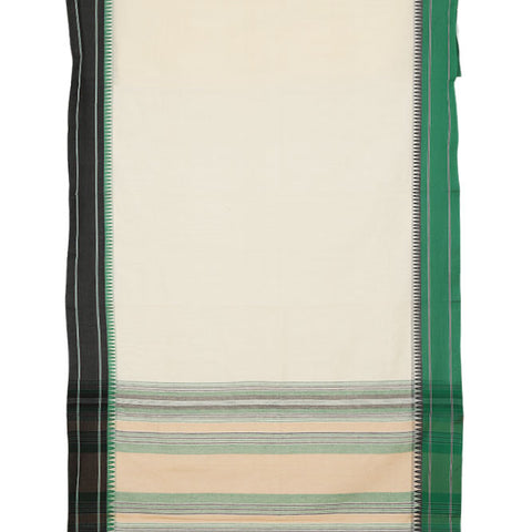 Begampur Cotton White Saree With Ganga Jamuna Border