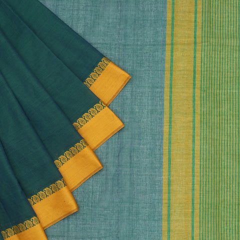 Begampur Cotton Peacock Blue Saree With Naksha Border