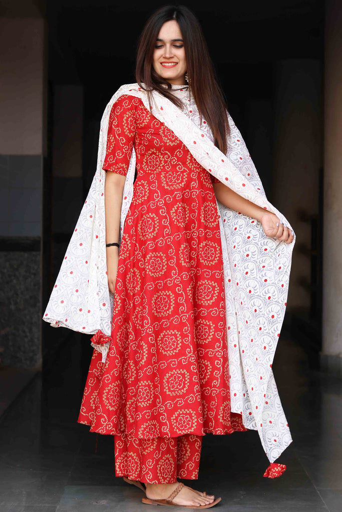 Red Bandhani Suit Set