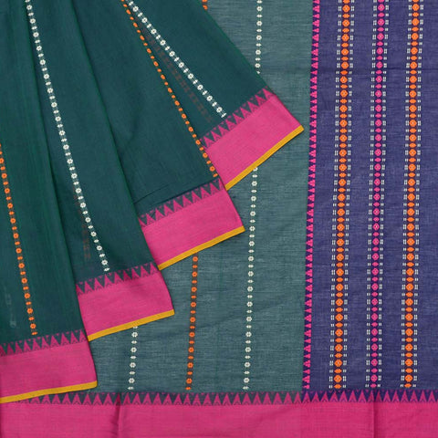 Begumpur cotton turquoise multicolor chain stripes Saree