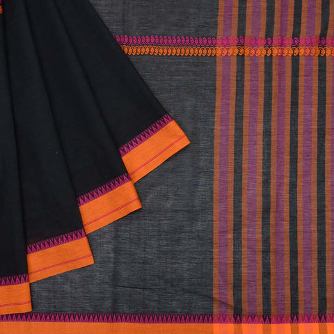 Begumpur cotton black plain with middle paisely stripes Saree