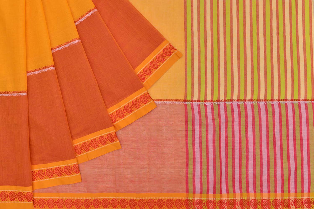 Begumpur cotton mango yellow plain Saree