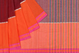 Begumpur cotton maroon orange black and white butta Saree