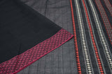 Begumpur cotton black plain Saree