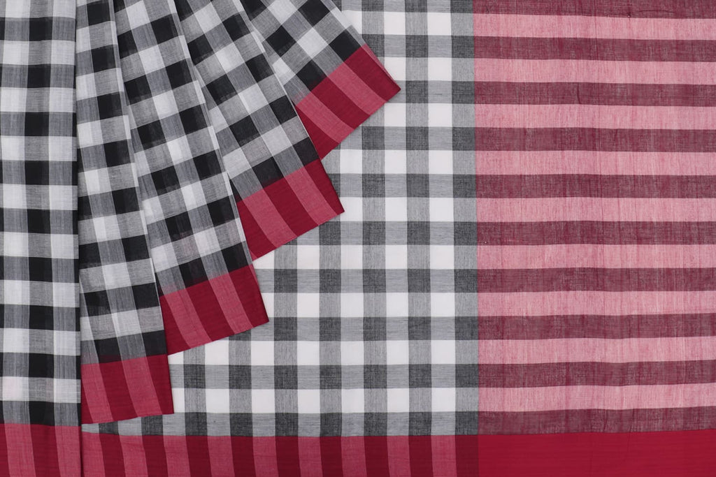 Begumpur cotton black and white checks Saree