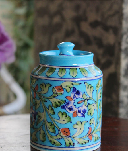 Blue Pottery Turquoise Floral Sugar Jar