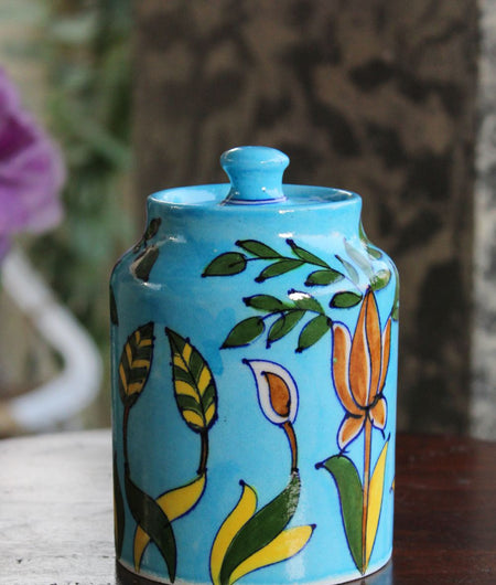 Blue Pottery Turquoise Grass Sugar Jar