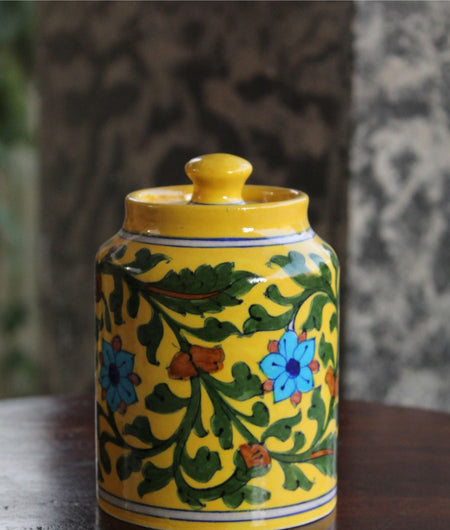 Blue Pottery Yellow Floral Sugar Jar