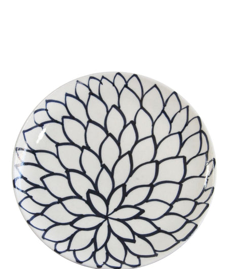 Blue Pottery White Floral Plate