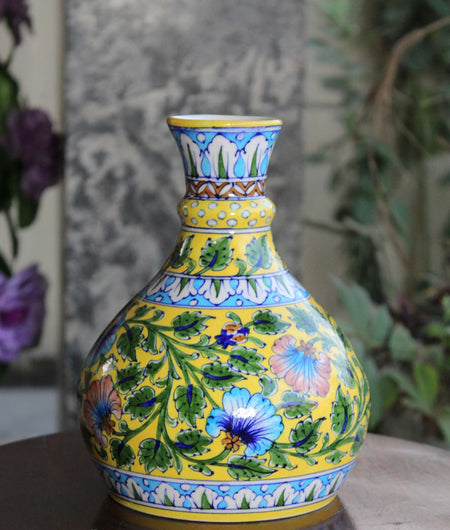 Blue Pottery Yellow Pitcher Vase