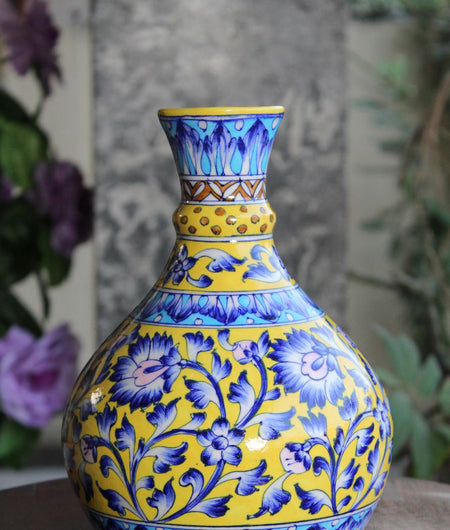 Blue Pottery Yellow Floral Pitcher Vase