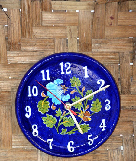 Blue Pottery Blue Floral Wall Clock