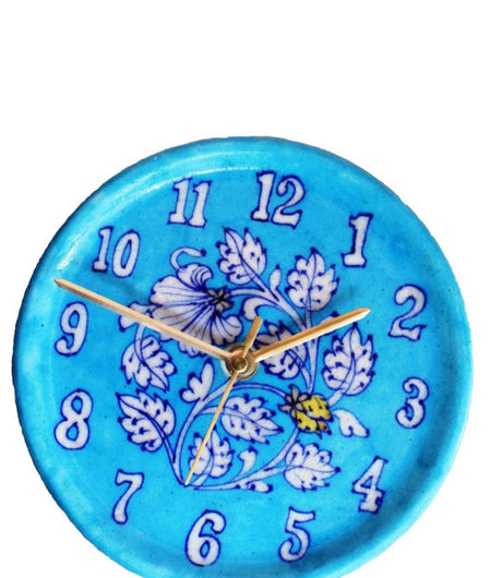 Turquoise Floral Blue Pottery Wall Clock