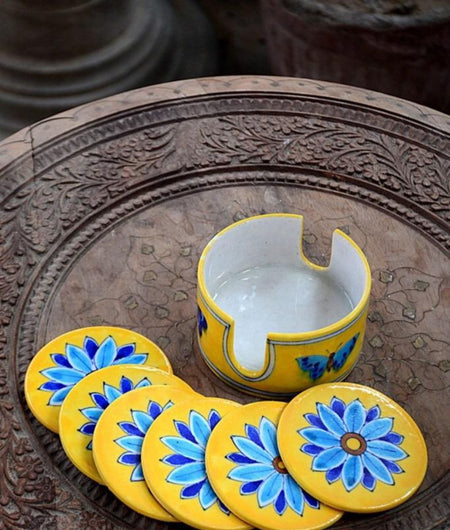 Blue Pottery Yellow Leaf Coaster Set – 6 Coaster And 1 Holder