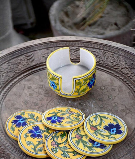 Blue Pottery Yellow Floral Coaster Set – 6 Coaster And 1 Holder