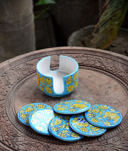 Blue Pottery Turquoise & Yellow Leaf Coaster Set – 6 Coaster And 1 Holder