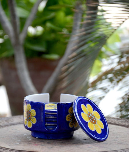Blue Pottery Sun Flower Coaster Set – 6 Coaster And 1 Holder