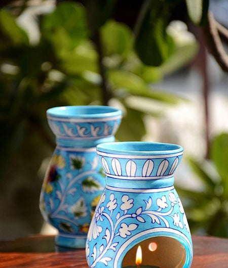 Blue Pottery Turquoise Floral Oil Diffuser / Aroma / Burner