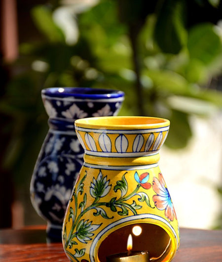 Blue Pottery Yellow Floral Oil Diffuser / Aroma / Burner