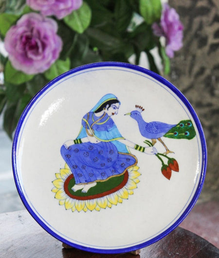 Blue Pottery Queen & Peacock Wall Plate
