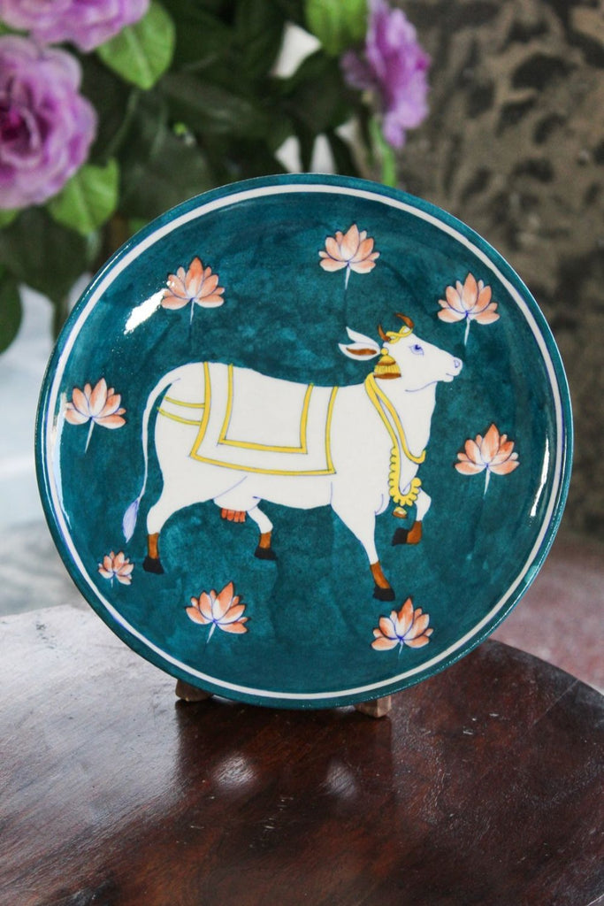 Blue Pottery Sea Blue Kamdhenu Wall Plate