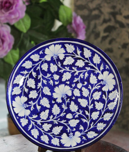 Blue Pottery Blue & White Floral Wall Plate