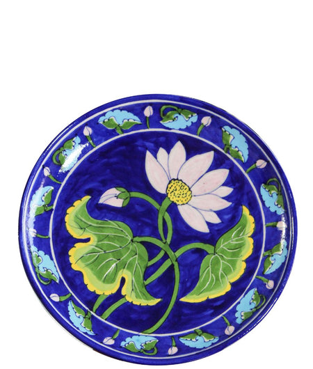 Blue Pottery Lotus Wall Plate
