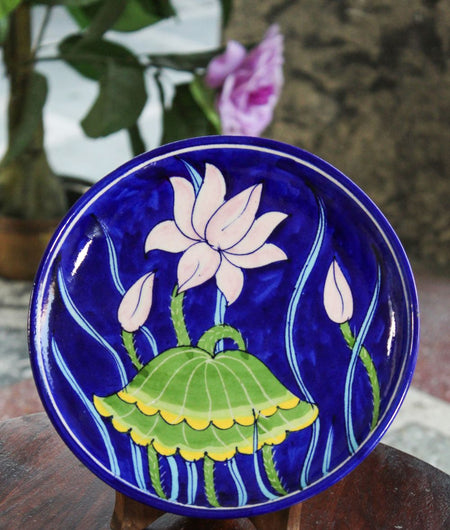 Blue Pottery Blue Lotus Wall Plate
