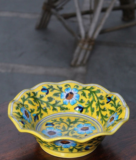 Blue Pottery Yellow Floral Bowl