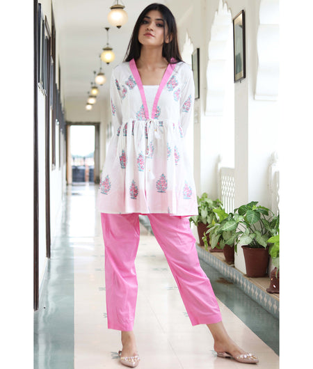 Handcrafted white and pink Cotton kurta pant