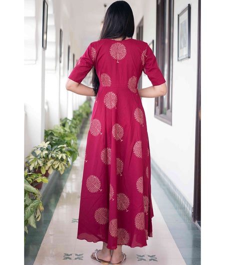 Handcrafted maroon Cotton Maxi