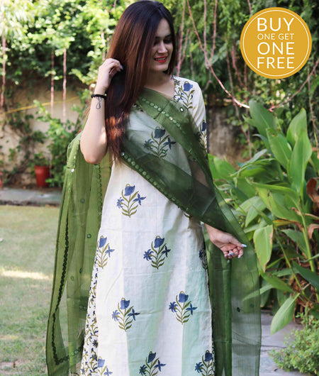 Handcrafted green Cotton suit set